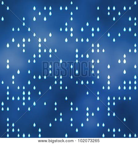 Seamless Pattern With Raindrops Motif On Blue