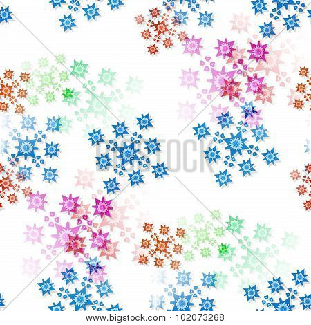 Seamless Pattern With Scattered Colored Ornaments