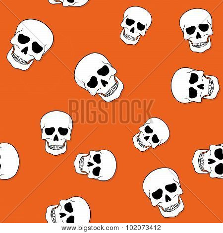 Seamless Pattern With Skulls On Orange Background