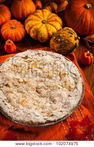 Apple pie for Thanksgiving with pumpkins