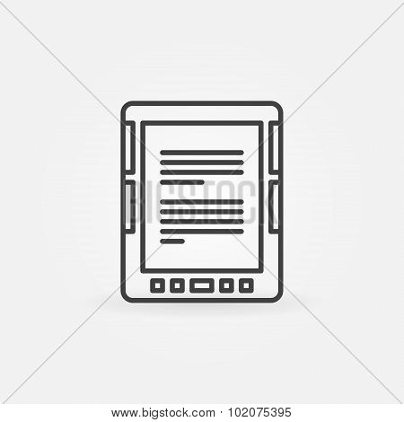 E-Book reader linear icon