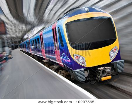 Fast Modern Passenger Train With Motion Blur