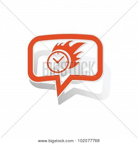 Burning clock message sticker, orange