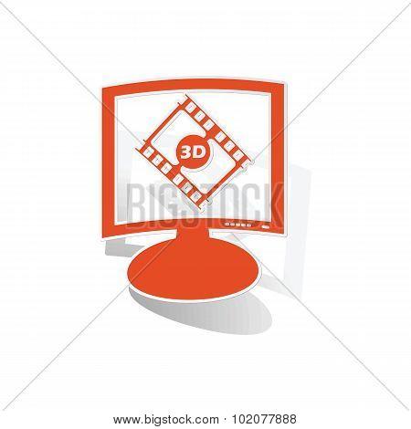 3D movie monitor sticker, orange