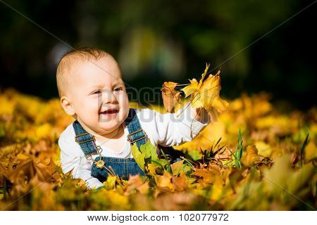 Happy childhood - autumn sunny day