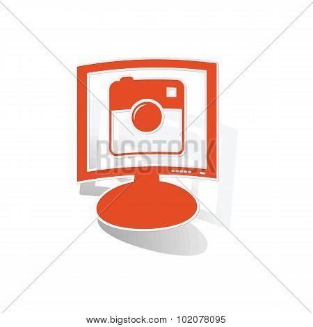 Square camera monitor sticker, orange