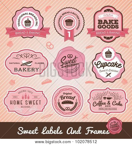Set Of Sweet Bakery And Bread Labels