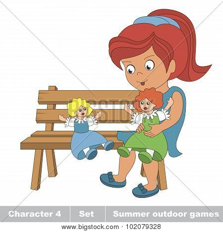 One young red hair girl in blue dress play with her toy doll on