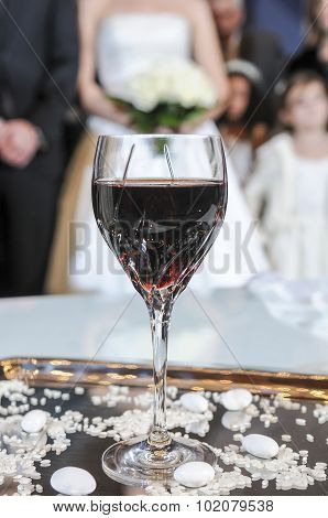 Glass Of Wine For Wedding Ceremony. Wedding Ceremony. Orthodox Wedding
