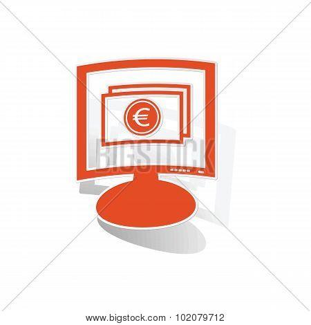 Euro banknote monitor sticker, orange