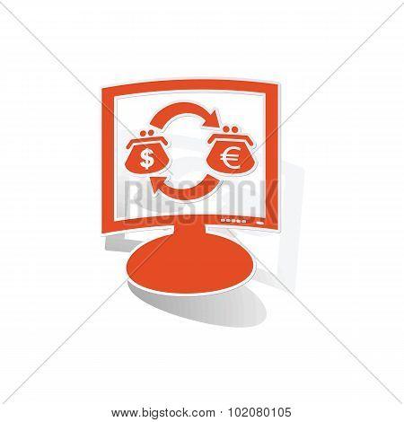 Dollar-euro trade monitor sticker, orange