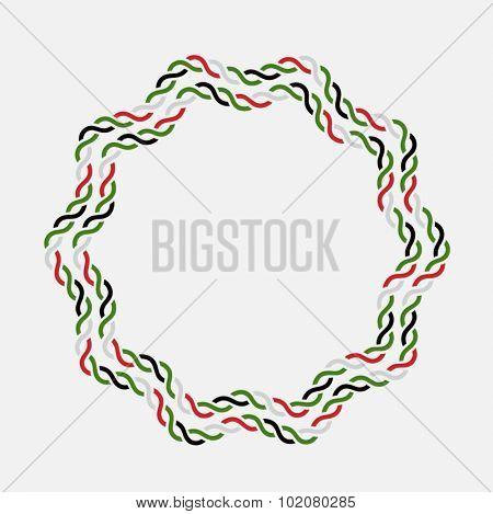 UAE National day celebration. Round rope shape vector border made with UAE flag colors.