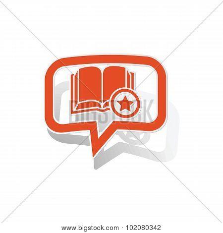 Favorite book message sticker, orange