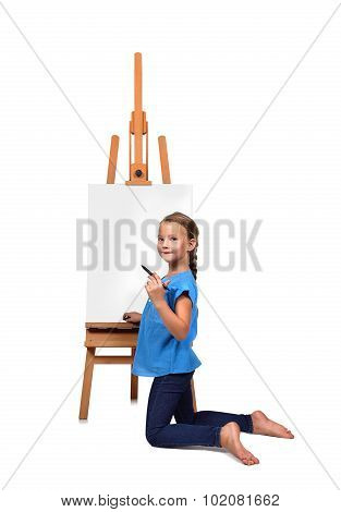 Barefoot Little Girl Drawing