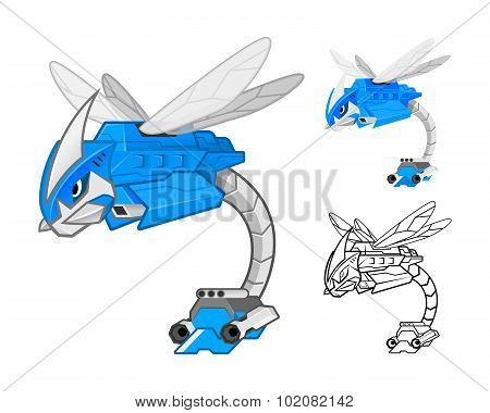 Robot Dragonfly Cartoon Character