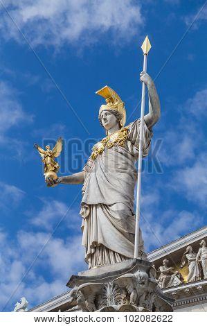 Goddess Athena Statue Outside Austrian Parliament