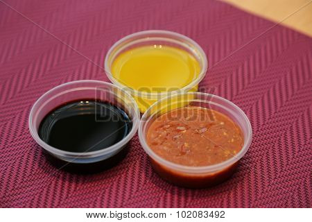 several sauce red- black- yellow
