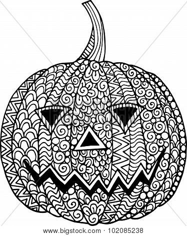 Hand drawn doodle ornate halloween pumpkin illustration with zentangle drawings