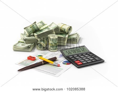 Money And Calculator/ Image Of Calculator With Money