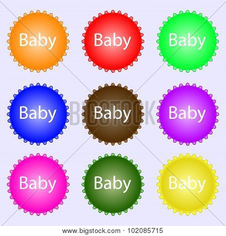 Baby On Board Sign Icon. Infant In Car Caution Symbol. Baby-pacifier Nipple. A Set Of Nine Different