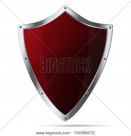 Glittering Red Metallic Shield Isolated On White Background