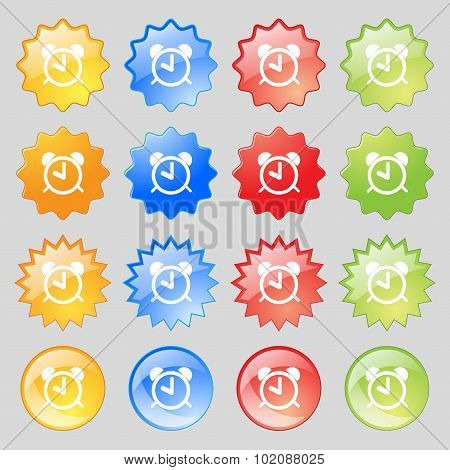 Alarm Clock Sign Icon. Wake Up Alarm Symbol. Big Set Of 16 Colorful Modern Buttons For Your Design.