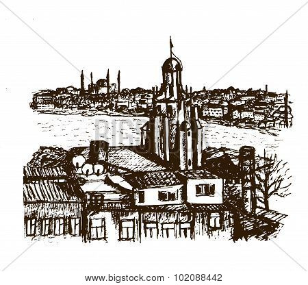 cityscape view Beyglou district with the Galata Tower in Istanbul, graphic sketch v