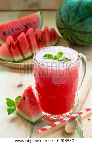 Watermelon Smoothie On A Rustic Wood Table Background, Iced Watermelon Juice On Wood Table Backgroun