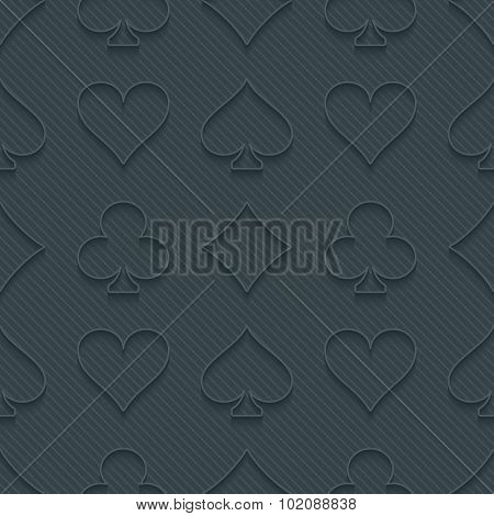 Dark perforated paper with cut out effect. 3d card symbol seamless background. Vector EPS10.