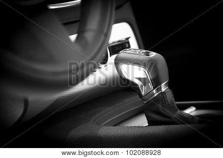 Modern car interior gear stick