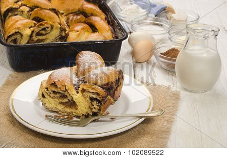 Sweet Hungarian Braided Cake With Cocoa
