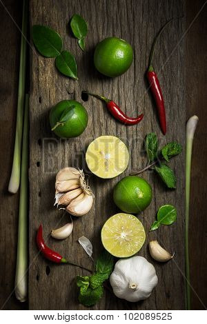 Fresh Herbs And Spices On Wooden Background, Ingredients Of Thai Spicy Food, Ingredients Of Tom Yum,