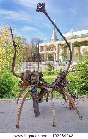 Izhevsk, Russia - September 16, 2015: Scrap Metal Modern Sculpture On The Street Of The Town, Kalash