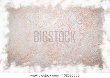 Grunge Frame Of Neutral Beige Plaster Wall Background