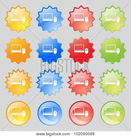 Computer Widescreen Monitor, Mouse Sign Icon. Big Set Of 16 Colorful Modern Buttons For Your Design.