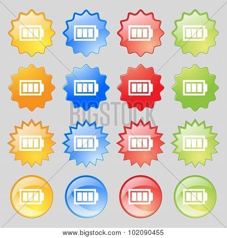 Battery Fully Charged Sign Icon. Electricity Symbol. Big Set Of 16 Colorful Modern Buttons For Your