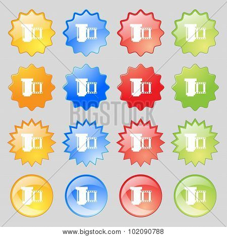 Negative Films Icon Symbol. Big Set Of 16 Colorful Modern Buttons For Your Design. Vector
