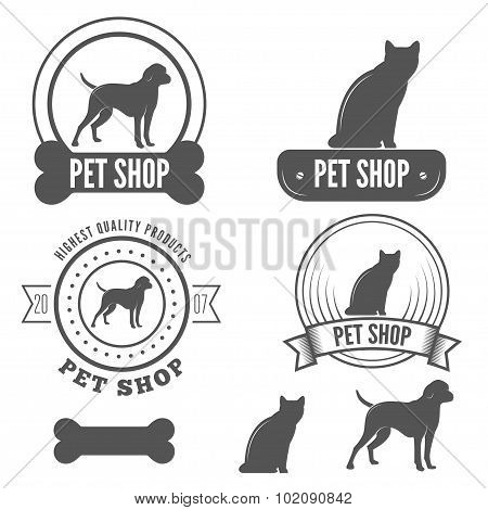 Set of vintage badge, emblem and label elements for pet shop, house, grooming or clinic