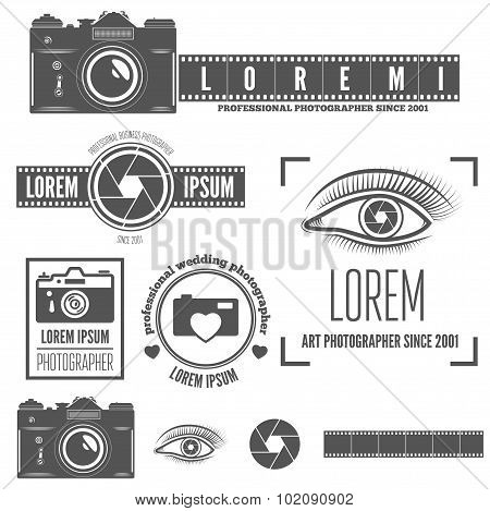 Set of badge, emblem, label and elements for studio or photographer, photograph