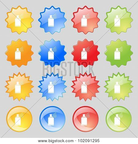 Graffiti Spray Can Sign Icon. Aerosol Paint Symbol. Big Set Of 16 Colorful Modern Buttons For Your D