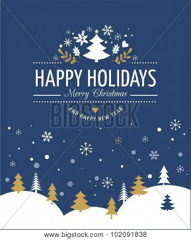 Merry Christmas Background With Typography, Lettering. Blue greeting card