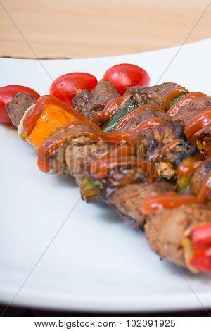 Close Up Barbecue In White Dish