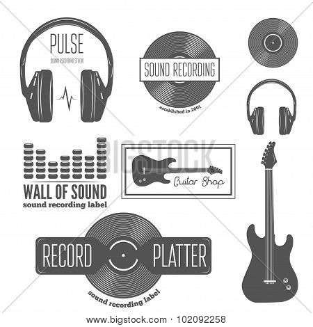 Set of badge, label, sticker, emblem, print and elements for recording studio, shirt or sound produc