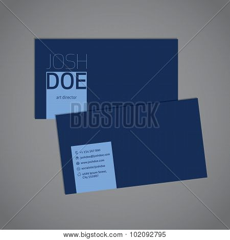 Simplistic Blue Business Card Template
