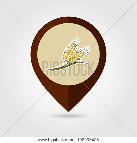 Spikelets Wheat Mapping Pin Icon