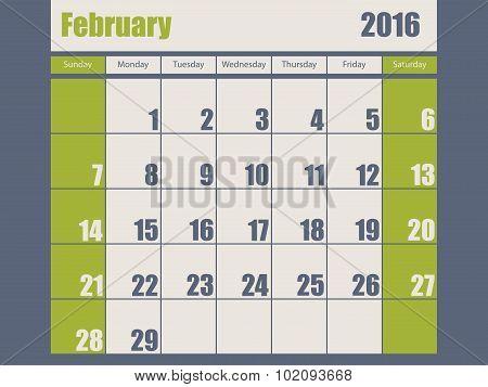 Blue Green Colored 2016 February Calendar