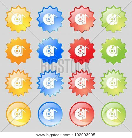 Cd Or Dvd Icon Sign. Big Set Of 16 Colorful Modern Buttons For Your Design. Vector