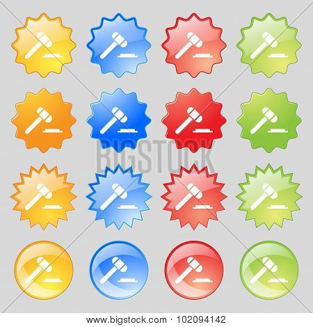 Judge Hammer Icon. Big Set Of 16 Colorful Modern Buttons For Your Design. Vector