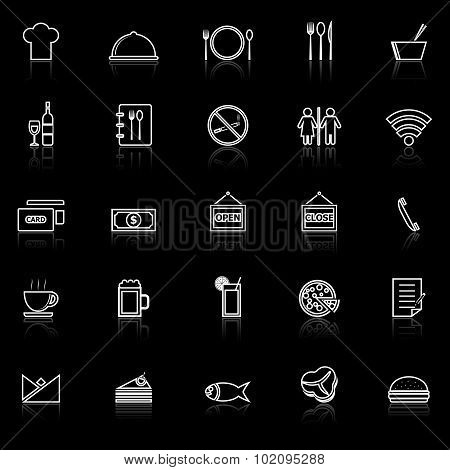 Restaurant Line Icons With Reflect On Black Background