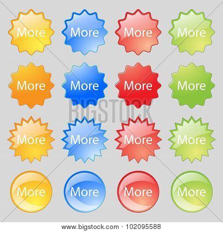 More Sign Icon. Details Symbol. Website Navigation. Big Set Of 16 Colorful Modern Buttons For Your D
